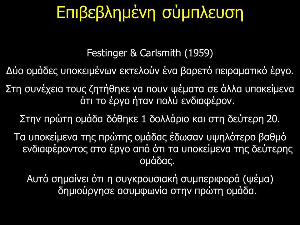 Επιβεβλημένη σύμπλευση Festinger & Carlsmith (1959) Δύο ομάδες υποκειμένων εκτελούν ένα βαρετό πειραματικό έργο. Στη συνέχεια τους ζητήθηκε να πουν ψέ