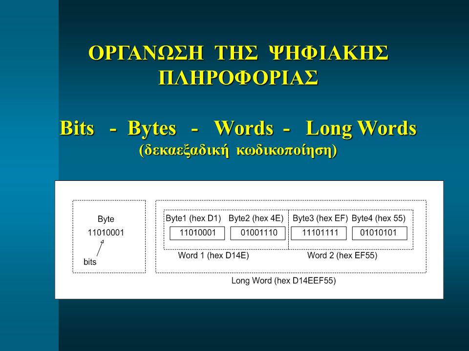 ΟΡΓΑΝΩΣΗ ΤΗΣ ΨΗΦΙΑΚΗΣ ΠΛΗΡΟΦΟΡΙΑΣ Bits - Bytes - Words - Long Words (δεκαεξαδική κωδικοποίηση)