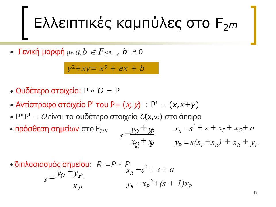 19 Ελλειπτικές καμπύλες στο F 2 m y 2 +xy= x 3 + ax + b Γενική μορφή με a,b  F 2 m, b  0 Ουδέτερο στοιχείο: P  O = P Αντίστροφο στοιχείο P του P= (x, y) : P = (x,x+y) P*P = O είναι το ουδέτερο στοιχείο O(x,  ) στο άπειρο πρόσθεση σημείων στο F 2 m διπλασιασμός σημείου: R =P  P s y y x x Q P Q P = + + xs y R R  + s + x P + x Q + a  s(x P +x R ) + x R + y P 2 s yy x Q P P = + xs y R R =+ s + a  x P 2 +(s + 1)x R 2