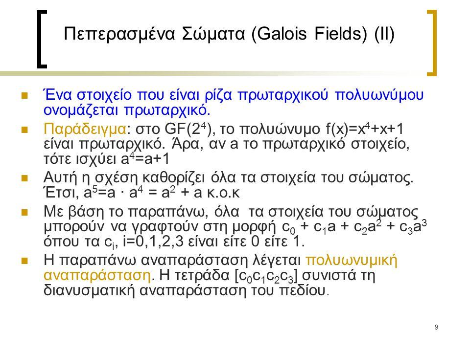 9 Πεπερασμένα Σώματα (Galois Fields) (IΙ) Ένα στοιχείο που είναι ρίζα πρωταρχικού πολυωνύμου ονομάζεται πρωταρχικό.