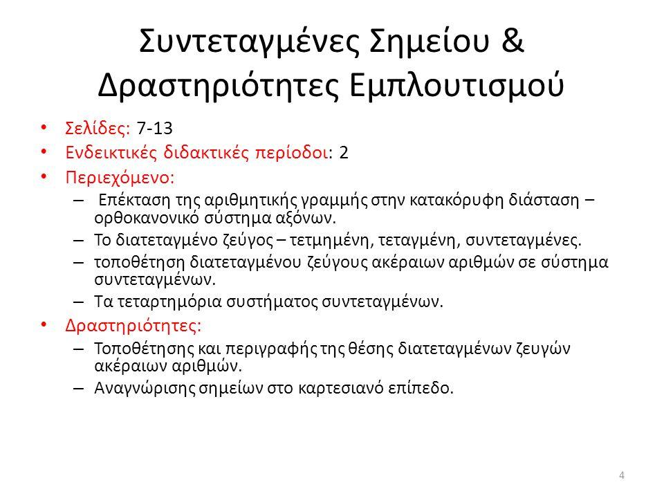 Συντεταγμένες Σημείου & Δραστηριότητες Εμπλουτισμού Σελίδες: 7-13 Ενδεικτικές διδακτικές περίοδοι: 2 Περιεχόμενο: – Επέκταση της αριθμητικής γραμμής σ
