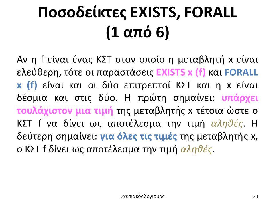 Ποσοδείκτες EXISTS, FORALL (1 από 6) Αν η f είναι ένας ΚΣΤ στον οποίο η μεταβλητή x είναι ελεύθερη, τότε οι παραστάσεις EXISTS x (f) και FORALL x (f)