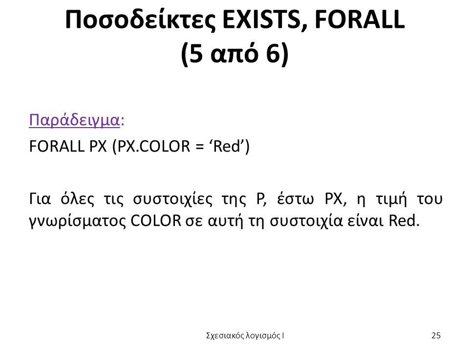Ποσοδείκτες EXISTS, FORALL (5 από 6) Παράδειγμα: FORALL PX (PX.COLOR = 'Red') Για όλες τις συστοιχίες της P, έστω PX, η τιμή του γνωρίσματος COLOR σε αυτή τη συστοιχία είναι Red.