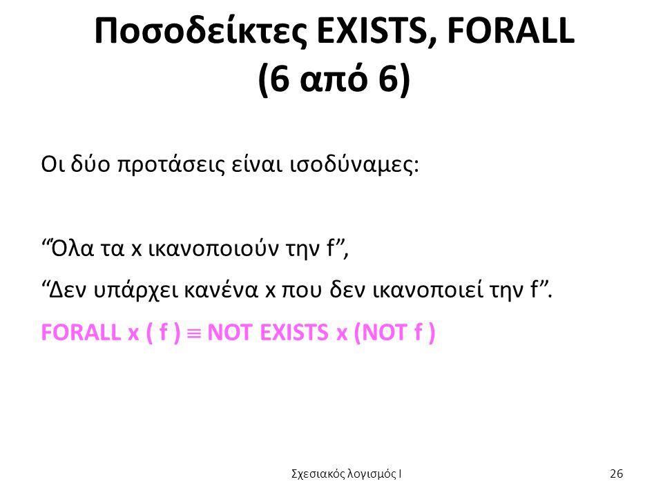 Ποσοδείκτες EXISTS, FORALL (6 από 6) Οι δύο προτάσεις είναι ισοδύναμες: Όλα τα x ικανοποιούν την f , Δεν υπάρχει κανένα x που δεν ικανοποιεί την f .