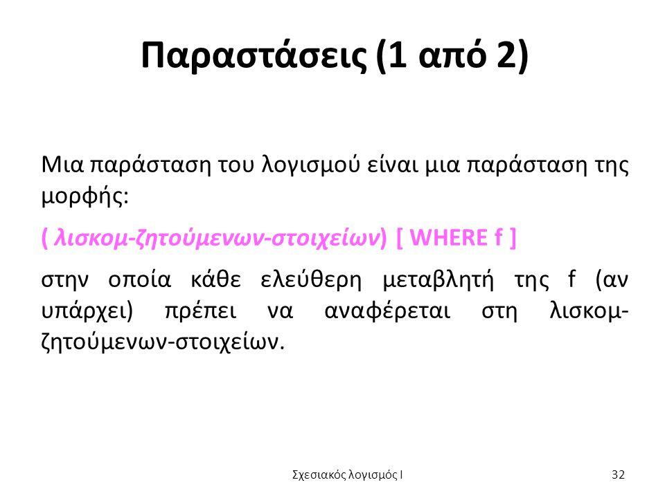 Παραστάσεις (1 από 2) Μια παράσταση του λογισμού είναι μια παράσταση της μορφής: ( λισκομ-ζητούμενων-στοιχείων) [ WHERE f ] στην οποία κάθε ελεύθερη μ