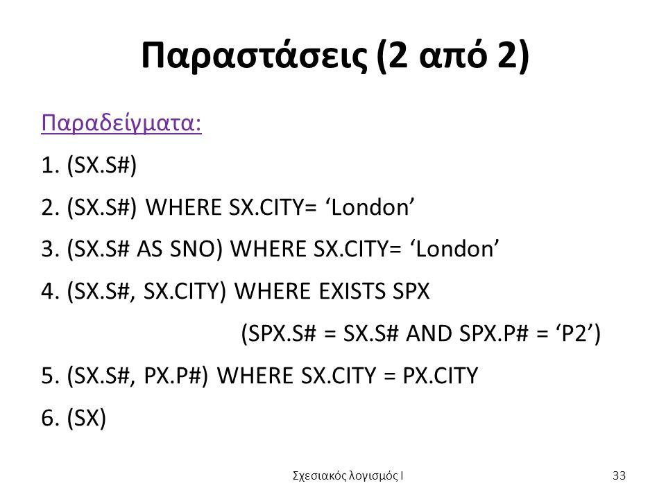 Παραστάσεις (2 από 2) Παραδείγματα: 1. (SX.S#) 2. (SX.S#) WHERE SX.CITY= 'London' 3. (SX.S# AS SNO) WHERE SX.CITY= 'London' 4. (SX.S#, SX.CITY) WHERE
