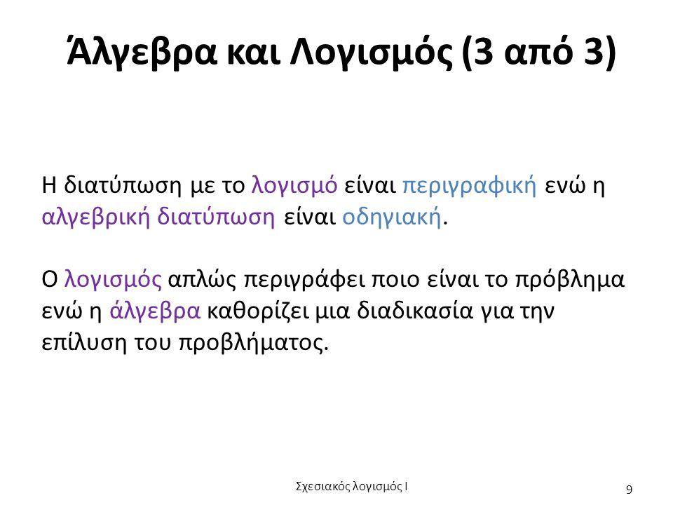 Άλγεβρα και Λογισμός (3 από 3) Η διατύπωση με το λογισμό είναι περιγραφική ενώ η αλγεβρική διατύπωση είναι οδηγιακή. Ο λογισμός απλώς περιγράφει ποιο