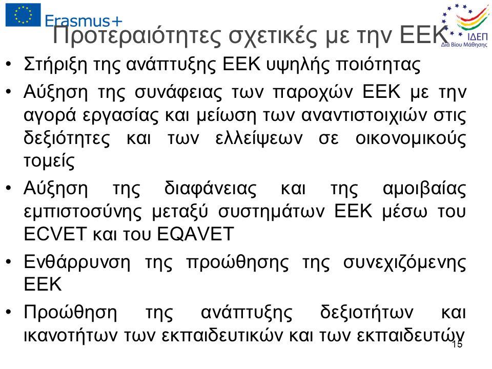 Προτεραιότητες σχετικές με την ΕΕΚ Στήριξη της ανάπτυξης ΕΕΚ υψηλής ποιότητας Αύξηση της συνάφειας των παροχών ΕΕΚ με την αγορά εργασίας και μείωση των αναντιστοιχιών στις δεξιότητες και των ελλείψεων σε οικονομικούς τομείς Αύξηση της διαφάνειας και της αμοιβαίας εμπιστοσύνης μεταξύ συστημάτων ΕΕΚ μέσω του ECVET και του EQAVET Ενθάρρυνση της προώθησης της συνεχιζόμενης ΕΕΚ Προώθηση της ανάπτυξης δεξιοτήτων και ικανοτήτων των εκπαιδευτικών και των εκπαιδευτών 15