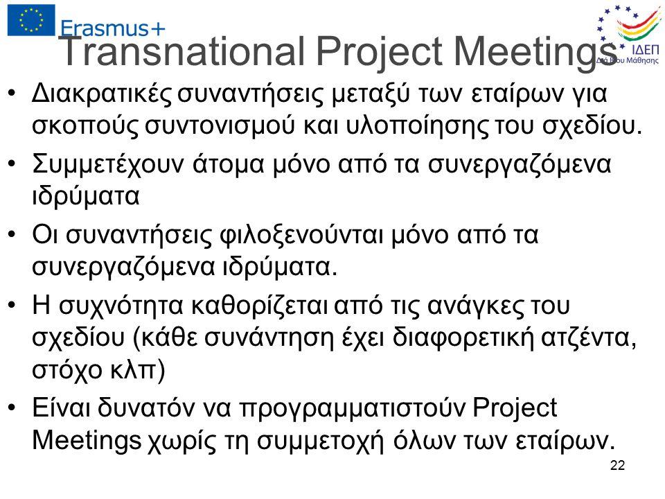 Transnational Project Meetings Διακρατικές συναντήσεις μεταξύ των εταίρων για σκοπούς συντονισμού και υλοποίησης του σχεδίου. Συμμετέχουν άτομα μόνο α