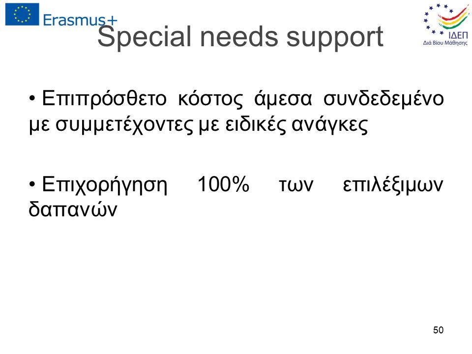 Special needs support Επιπρόσθετο κόστος άμεσα συνδεδεμένο με συμμετέχοντες με ειδικές ανάγκες Επιχορήγηση 100% των επιλέξιμων δαπανών 50