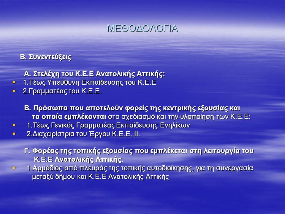 ΜΕΘΟΔΟΛΟΓΙΑ Β. Συνεντεύξεις Β. Συνεντεύξεις Α. Στελέχη του Κ.Ε.Ε Ανατολικής Αττικής: Α. Στελέχη του Κ.Ε.Ε Ανατολικής Αττικής:  1.Τέως Υπεύθυνη Εκπαίδ