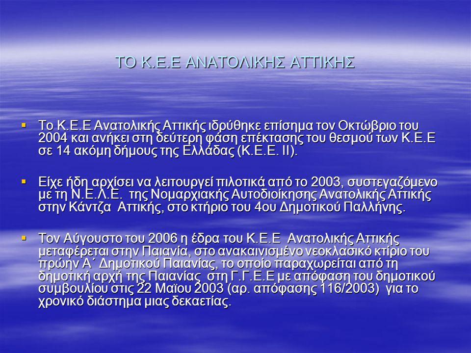 ΤΟ Κ.Ε.Ε ΑΝΑΤΟΛΙΚΗΣ ΑΤΤΙΚΗΣ  Το Κ.Ε.Ε Ανατολικής Αττικής ιδρύθηκε επίσημα τον Οκτώβριο του 2004 και ανήκει στη δεύτερη φάση επέκτασης του θεσμού των
