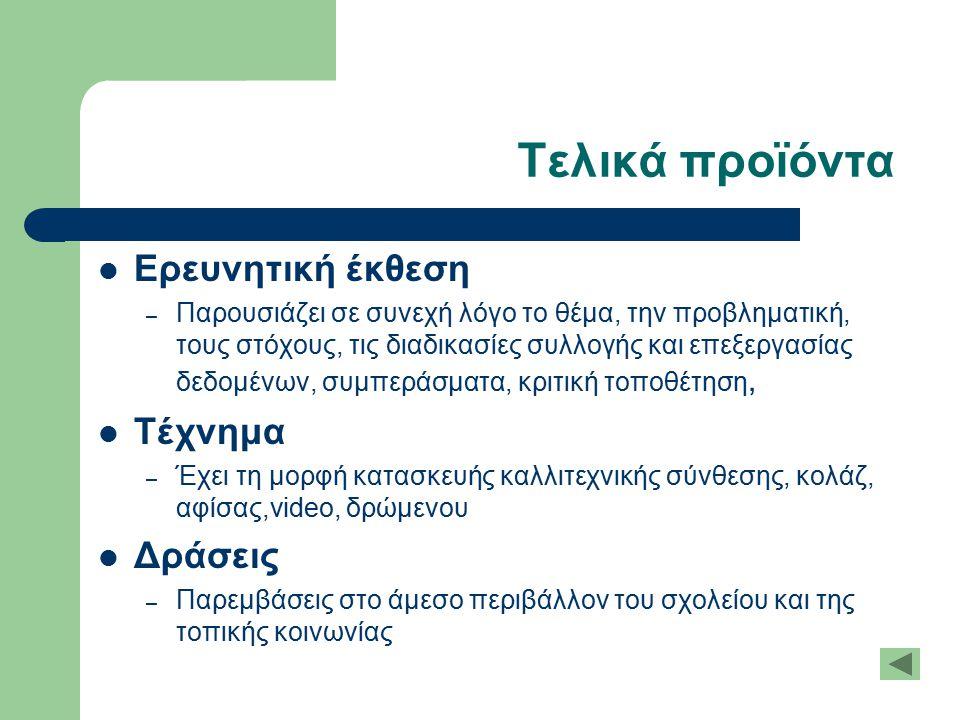 Τελικά προϊόντα Ερευνητική έκθεση – Παρουσιάζει σε συνεχή λόγο το θέμα, την προβληματική, τους στόχους, τις διαδικασίες συλλογής και επεξεργασίας δεδο