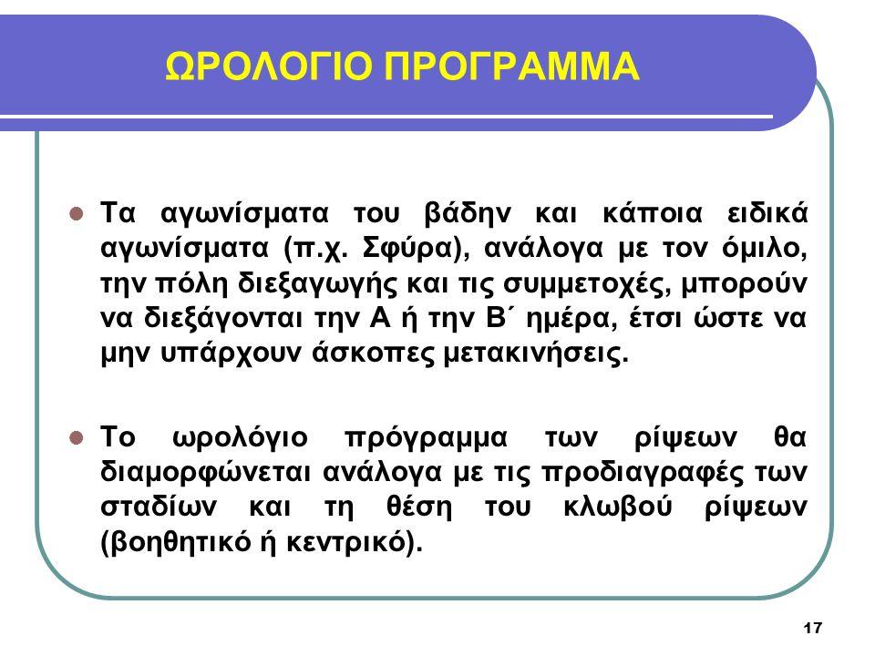 ΩΡΟΛΟΓΙΟ ΠΡΟΓΡΑΜΜΑ Τα αγωνίσματα του βάδην και κάποια ειδικά αγωνίσματα (π.χ. Σφύρα), ανάλογα με τον όμιλο, την πόλη διεξαγωγής και τις συμμετοχές, μπ