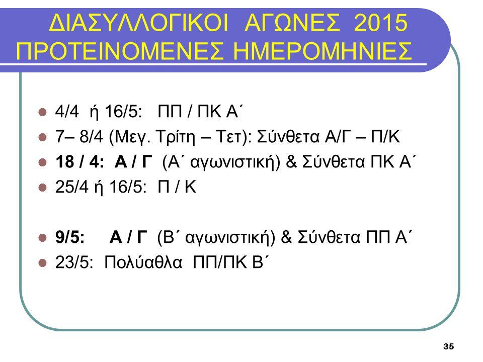 ΔΙΑΣΥΛΛΟΓΙΚΟΙ ΑΓΩΝΕΣ 2015 ΠΡΟΤΕΙΝΟΜΕΝΕΣ ΗΜΕΡΟΜΗΝΙΕΣ 4/4 ή 16/5: ΠΠ / ΠΚ Α΄ 7– 8/4 (Μεγ. Τρίτη – Τετ): Σύνθετα Α/Γ – Π/Κ 18 / 4: Α / Γ (Α΄ αγωνιστική)