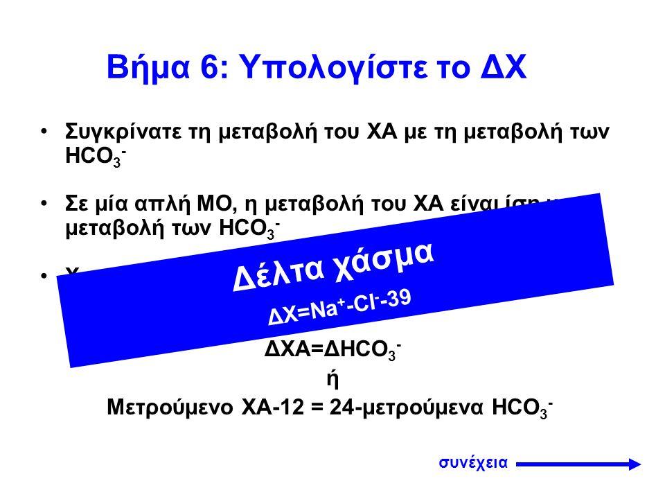 Βήμα 6 Αν η μείωση των HCO 3 - είναι μεγαλύτερη από την αύξηση του ΧΑ, υπάρχει ταυτόχρονα και δεύτερη (ΜΟ χωρίς ΧΑ) Αν η μείωση των HCO 3 - είναι μικρότερη από την αύξηση του ΧΑ, συνυπάρχει και ΜΑ