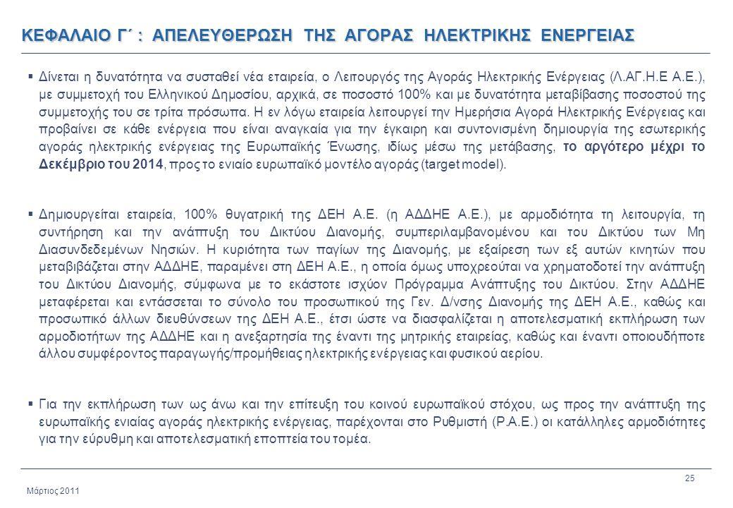 25 Μάρτιος 2011 ΚΕΦΑΛΑΙΟ Γ΄ : ΑΠΕΛΕΥΘΕΡΩΣΗ ΤΗΣ ΑΓΟΡΑΣ ΗΛΕΚΤΡΙΚΗΣ ΕΝΕΡΓΕΙΑΣ  Δίνεται η δυνατότητα να συσταθεί νέα εταιρεία, ο Λειτουργός της Αγοράς Ηλ