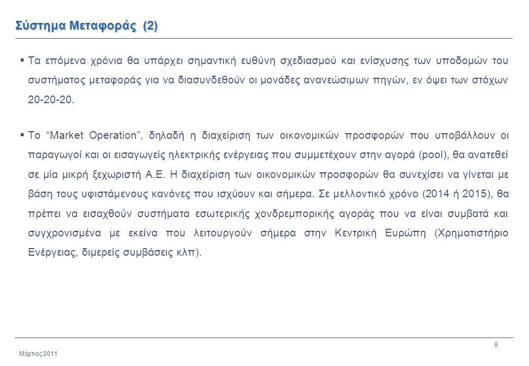 8 Μάρτιος 2011 Σύστημα Μεταφοράς (2)  Τα επόμενα χρόνια θα υπάρχει σημαντική ευθύνη σχεδιασμού και ενίσχυσης των υποδομών του συστήματος μεταφοράς γι