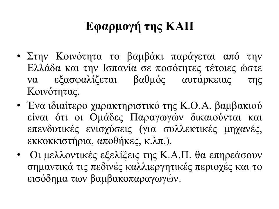 Εφαρμογή της ΚΑΠ Στην Κοινότητα το βαμβάκι παράγεται από την Ελλάδα και την Ισπανία σε ποσότητες τέτοιες ώστε να εξασφαλίζεται βαθμός αυτάρκειας της Κ