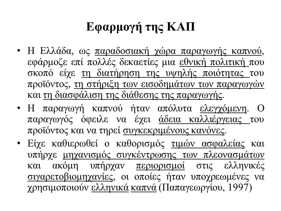 Εφαρμογή της ΚΑΠ Η Ελλάδα, ως παραδοσιακή χώρα παραγωγής καπνού, εφάρμοζε επί πολλές δεκαετίες μια εθνική πολιτική που σκοπό είχε τη διατήρηση της υψη