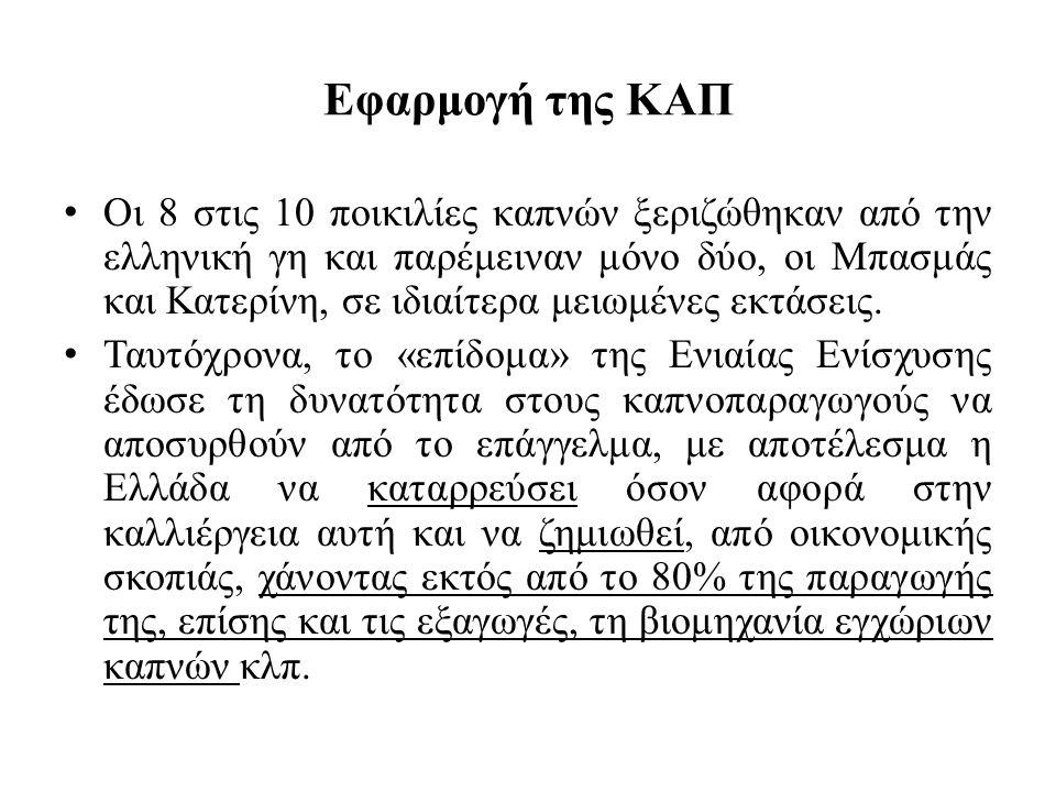 Εφαρμογή της ΚΑΠ Οι 8 στις 10 ποικιλίες καπνών ξεριζώθηκαν από την ελληνική γη και παρέμειναν μόνο δύο, οι Μπασμάς και Κατερίνη, σε ιδιαίτερα μειωμένε