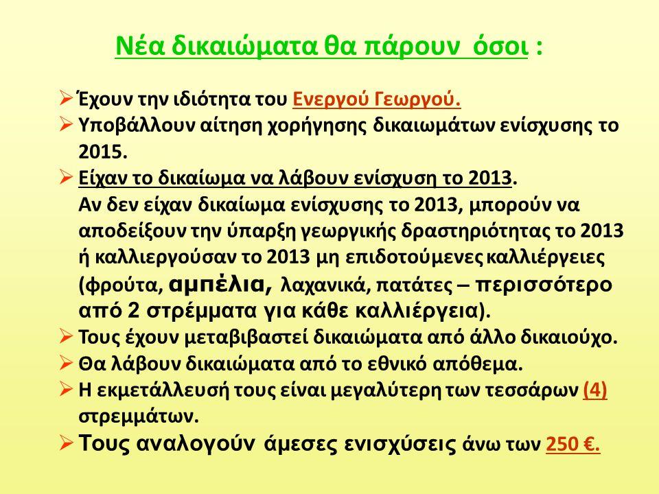  Έχουν την ιδιότητα του Ενεργού Γεωργού.  Υποβάλλουν αίτηση χορήγησης δικαιωμάτων ενίσχυσης το 2015.  Είχαν το δικαίωμα να λάβουν ενίσχυση το 2013.