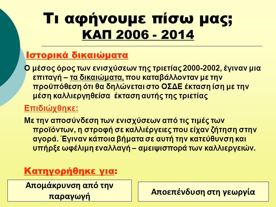 Τι αφήνουμε πίσω μας; ΚΑΠ 2006 - 2014 Ιστορικά δικαιώματα Ο μέσος όρος των ενισχύσεων της τριετίας 2000-2002, έγιναν μια επιταγή – τα δικαιώματα, που