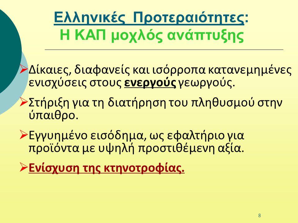Ελληνικές Προτεραιότητες: Η ΚΑΠ μοχλός ανάπτυξης  Δίκαιες, διαφανείς και ισόρροπα κατανεμημένες ενισχύσεις στους ενεργούς γεωργούς.