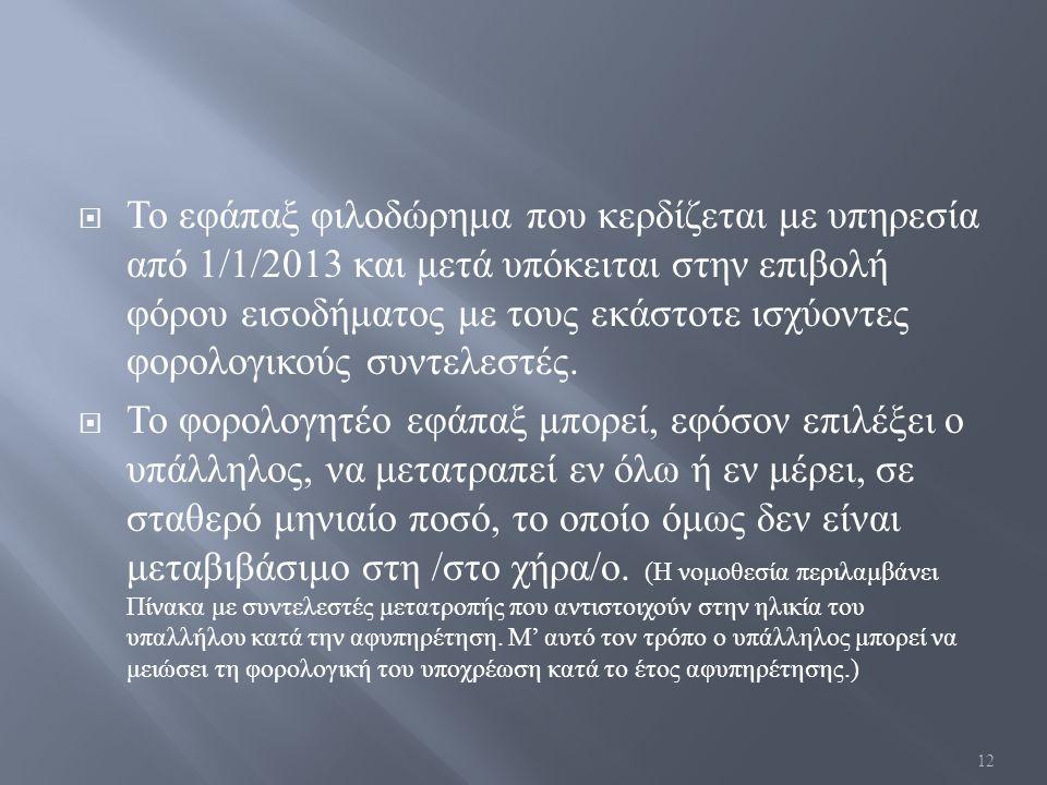  Το εφάπαξ φιλοδώρημα που κερδίζεται με υπηρεσία από 1/1/2013 και μετά υπόκειται στην επιβολή φόρου εισοδήματος με τους εκάστοτε ισχύοντες φορολογικο