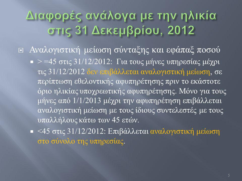  Αναλογιστική μείωση σύνταξης και εφάπαξ ποσού  > =45 στις 31/12/2012: Για τους μήνες υπηρεσίας μέχρι τις 31/12/2012 δεν επιβάλλεται αναλογιστική μείωση, σε περίπτωση εθελοντικής αφυπηρέτησης πριν το εκάστοτε όριο ηλικίας υποχρεωτικής αφυπηρέτησης.