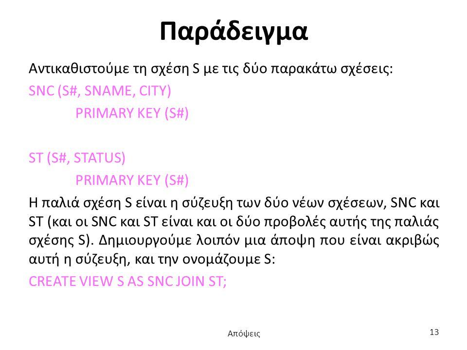Παράδειγμα Αντικαθιστούμε τη σχέση S με τις δύο παρακάτω σχέσεις: SNC (S#, SNAME, CITY) PRIMARY KEY (S#) ST (S#, STATUS) PRIMARY KEY (S#) Η παλιά σχέση S είναι η σύζευξη των δύο νέων σχέσεων, SNC και ST (και οι SNC και ST είναι και οι δύο προβολές αυτής της παλιάς σχέσης S).