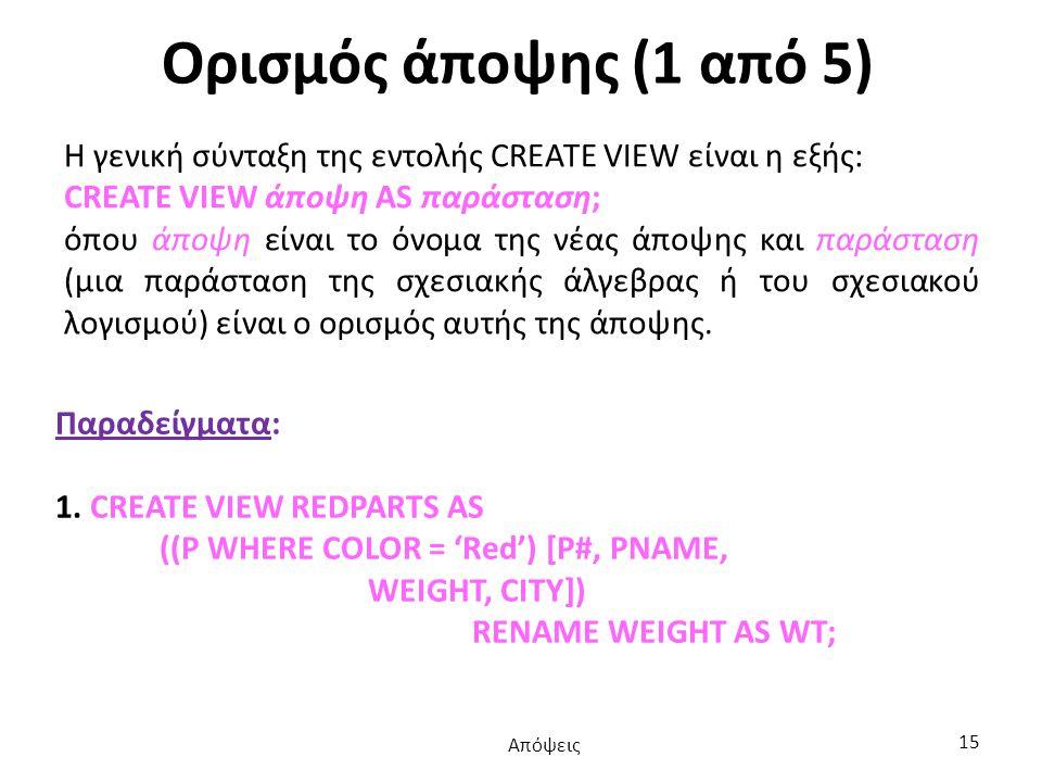 Ορισμός άποψης (1 από 5) Η γενική σύνταξη της εντολής CREATE VIEW είναι η εξής: CREATE VIEW άποψη AS παράσταση; όπου άποψη είναι το όνομα της νέας άποψης και παράσταση (μια παράσταση της σχεσιακής άλγεβρας ή του σχεσιακού λογισμού) είναι ο ορισμός αυτής της άποψης.