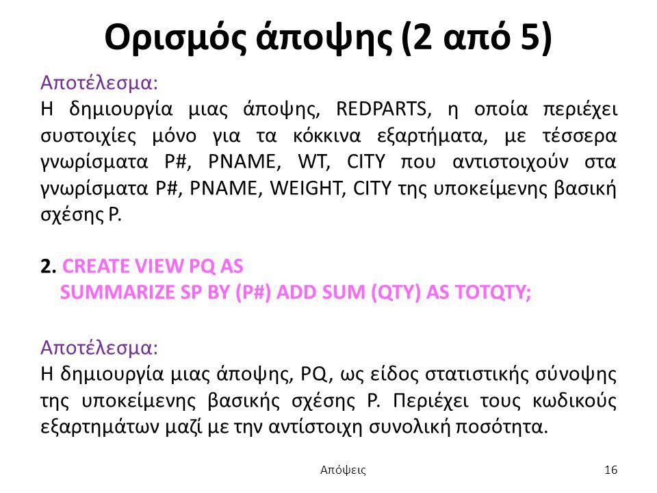 Ορισμός άποψης (2 από 5) Αποτέλεσμα: Η δημιουργία μιας άποψης, REDPARTS, η οποία περιέχει συστοιχίες μόνο για τα κόκκινα εξαρτήματα, με τέσσερα γνωρίσματα P#, PNAME, WT, CITY που αντιστοιχούν στα γνωρίσματα P#, PNAME, WEIGHT, CITY της υποκείμενης βασική σχέσης P.