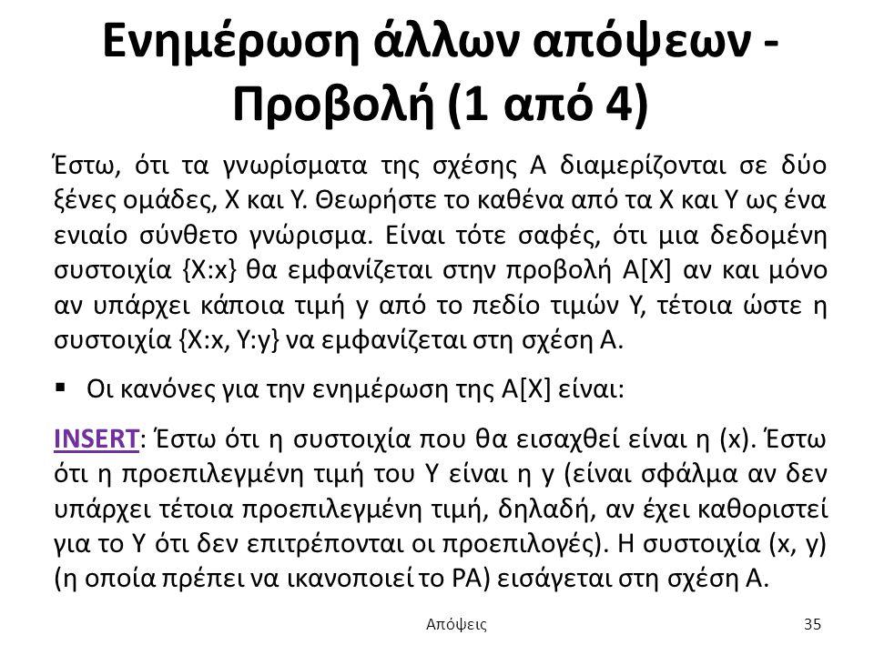 Ενημέρωση άλλων απόψεων - Προβολή (1 από 4) Έστω, ότι τα γνωρίσματα της σχέσης Α διαμερίζονται σε δύο ξένες ομάδες, Χ και Υ.