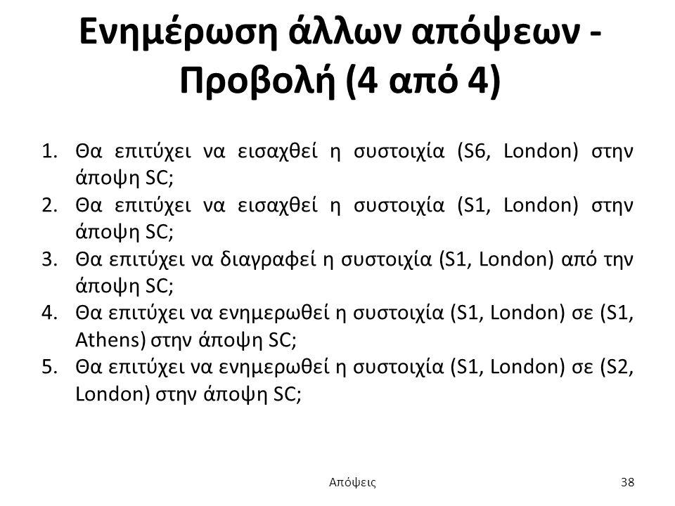 Ενημέρωση άλλων απόψεων - Προβολή (4 από 4) 1.Θα επιτύχει να εισαχθεί η συστοιχία (S6, London) στην άποψη SC; 2.Θα επιτύχει να εισαχθεί η συστοιχία (S1, London) στην άποψη SC; 3.Θα επιτύχει να διαγραφεί η συστοιχία (S1, London) από την άποψη SC; 4.Θα επιτύχει να ενημερωθεί η συστοιχία (S1, London) σε (S1, Athens) στην άποψη SC; 5.Θα επιτύχει να ενημερωθεί η συστοιχία (S1, London) σε (S2, London) στην άποψη SC; Απόψεις 38