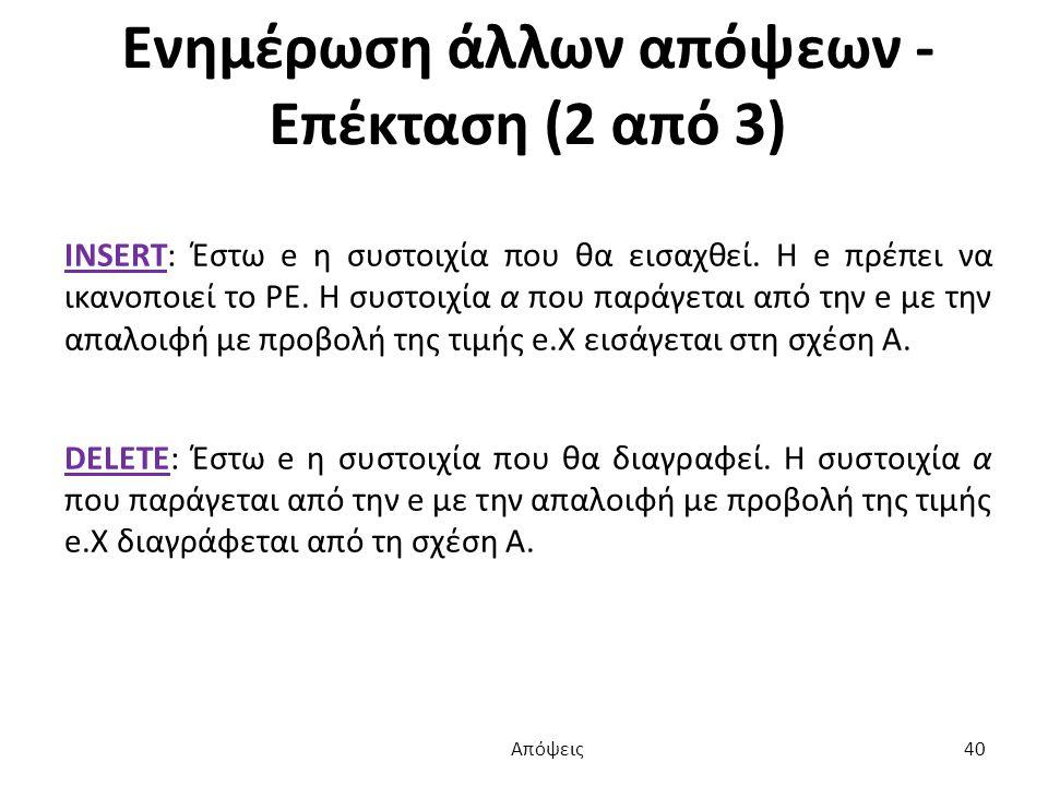 Ενημέρωση άλλων απόψεων - Επέκταση (2 από 3) INSERT: Έστω e η συστοιχία που θα εισαχθεί.