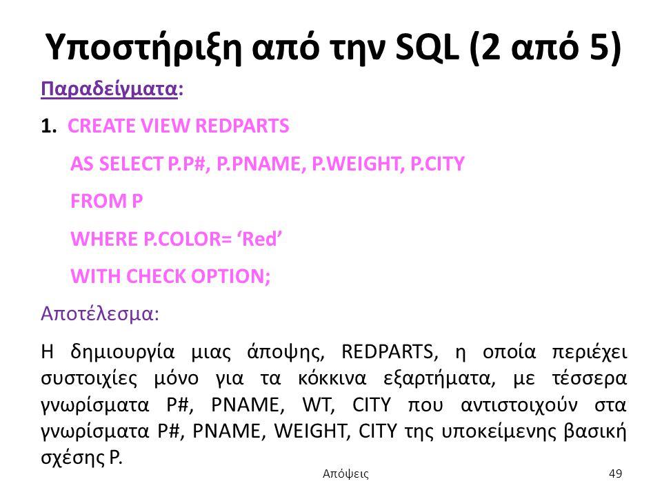 Υποστήριξη από την SQL (2 από 5) Παραδείγματα: 1.