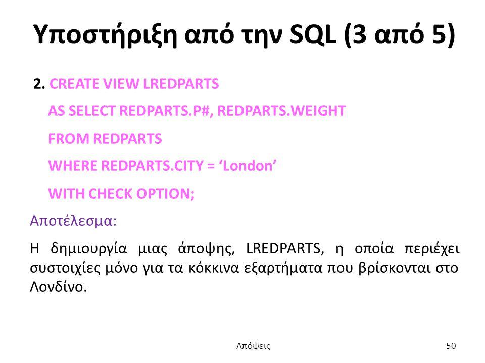 Υποστήριξη από την SQL (3 από 5) 2.