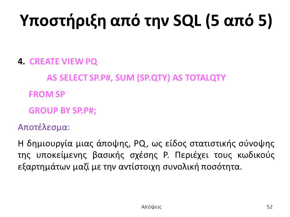 Υποστήριξη από την SQL (5 από 5) 4.
