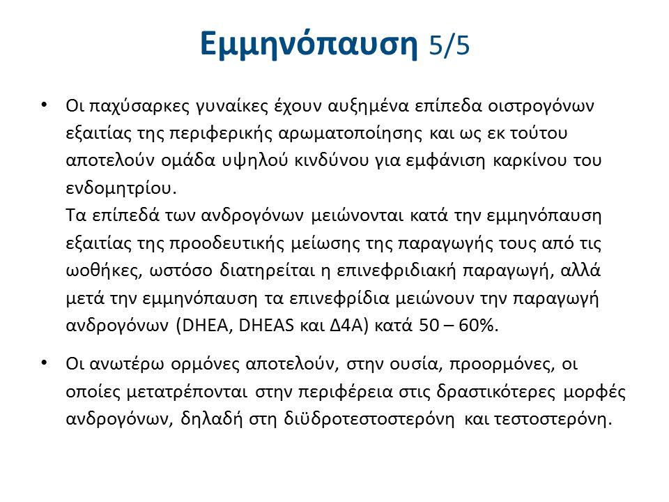 Εμμηνόπαυση 5/5 Οι παχύσαρκες γυναίκες έχουν αυξημένα επίπεδα οιστρογόνων εξαιτίας της περιφερικής αρωματοποίησης και ως εκ τούτου αποτελούν ομάδα υψη
