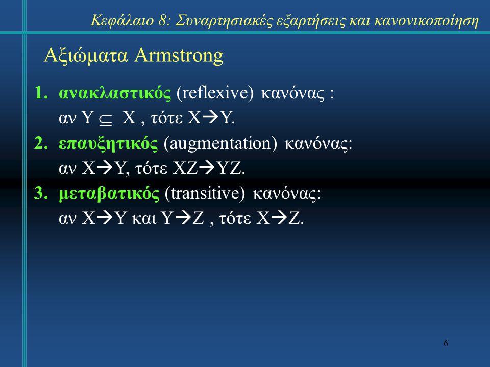17 Ελάχιστα σύνολα συναρτησιακών εξαρτήσεων Ένα σύνολο εξαρτήσεων F καλείται ελάχιστο (minimal) ή ανάγωγο (irreducible) αν ισχύουν οι εξής συνθήκες: –κάθε συναρτησιακή εξάρτηση του F έχει μόνο ένα χαρακτηριστικό στο δεξιό μέρος.