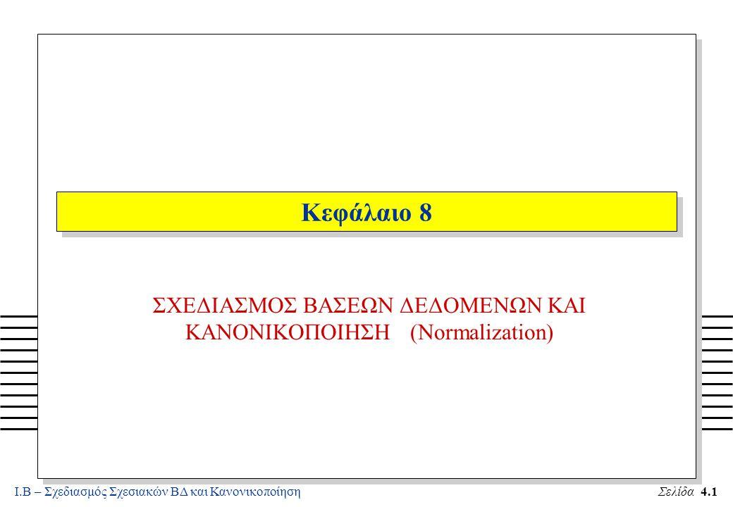 Ι.Β – Σχεδιασμός Σχεσιακών ΒΔ και ΚανονικοποίησηΣελίδα 4.22 Κανόνες Συμπερασμού n Επιπλέον Κανόνες Συμπερασμού ισχύουν : A4.Αν X  YZ τότε X  Y και X  Z (Διασπαστικός - Decomposition) A5.Αν X  Y και X  Z τότε X  YZ (Ενωτικός - Union) A6.Αν X  Y και WY  Z τότε WX  Z (Ψευδομεταβατικός -Pseudotransitivity) n Το κλείσιμο - closure F+ ενός συνόλου FD F είναι το σύνολο όλων των FD που συμπεραίνονται από το F (με την εφαρμογή των κανόνων Armstrong) n Το κλείσιμο - closure X+ ενός συνόλου γνωρισμάτων X σε σχέση με ένα σύνολο FD F είναι το σύνολο όλων των γνωρισμάτων που εξαρτώνται συναρτησιακά από το X (με την εφαρμογή των κανόνων Armstrong)