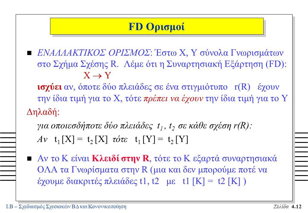 Ι.Β – Σχεδιασμός Σχεσιακών ΒΔ και ΚανονικοποίησηΣελίδα 4.12 FD Ορισμοί ΕΝΑΛΛΑΚΤΙΚΟΣ ΟΡΙΣΜΟΣ: Έστω X, Y σύνολα Γνωρισμάτων στο Σχήμα Σχέσης R. Λέμε ότι