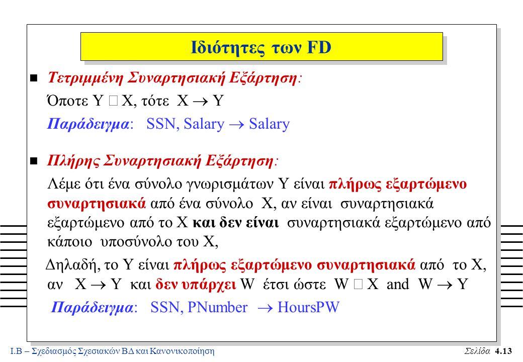 Ι.Β – Σχεδιασμός Σχεσιακών ΒΔ και ΚανονικοποίησηΣελίδα 4.13 Ιδιότητες των FD n Τετριμμένη Συναρτησιακή Εξάρτηση: Όποτε Y  X, τότε X  Y Παράδειγμα:
