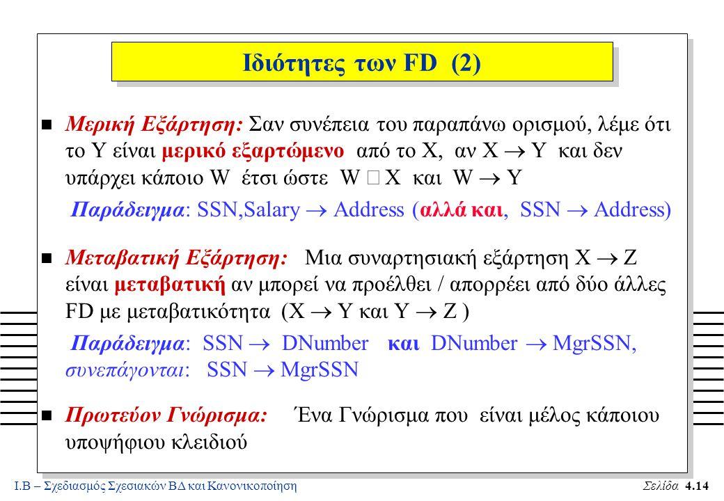 Ι.Β – Σχεδιασμός Σχεσιακών ΒΔ και ΚανονικοποίησηΣελίδα 4.14 Ιδιότητες των FD (2) Μερική Εξάρτηση: Σαν συνέπεια του παραπάνω ορισμού, λέμε ότι το Y είν