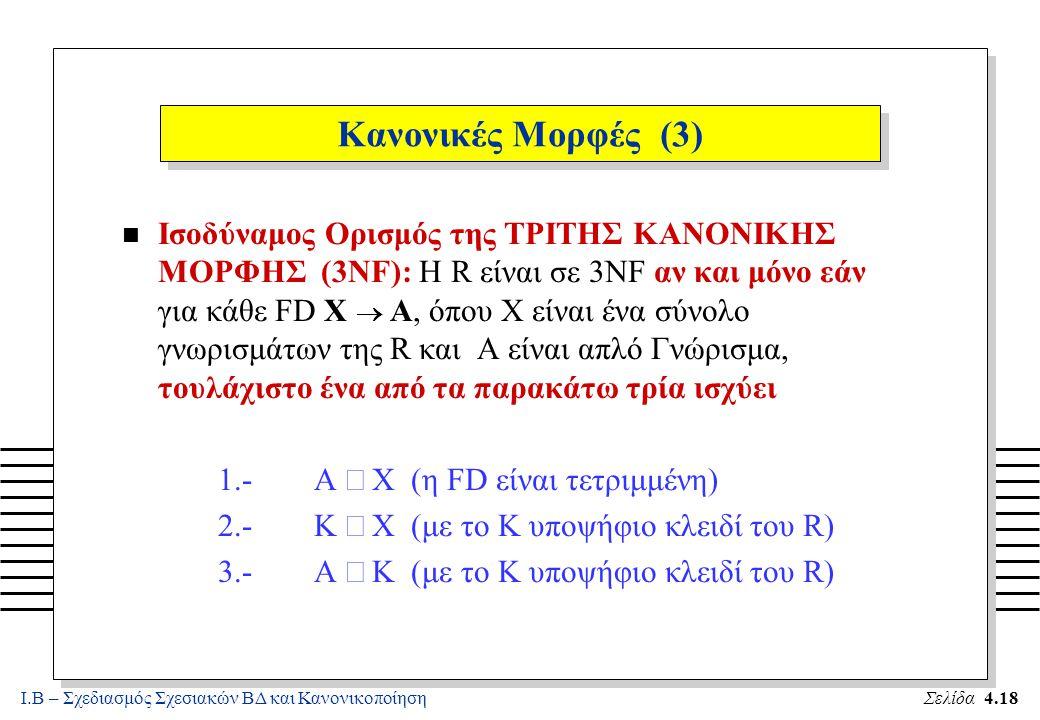 Ι.Β – Σχεδιασμός Σχεσιακών ΒΔ και ΚανονικοποίησηΣελίδα 4.18 Κανονικές Μορφές (3) Ισοδύναμος Ορισμός της ΤΡΙΤΗΣ ΚΑΝΟΝΙΚΗΣ ΜΟΡΦΗΣ (3NF): Η R είναι σε 3N