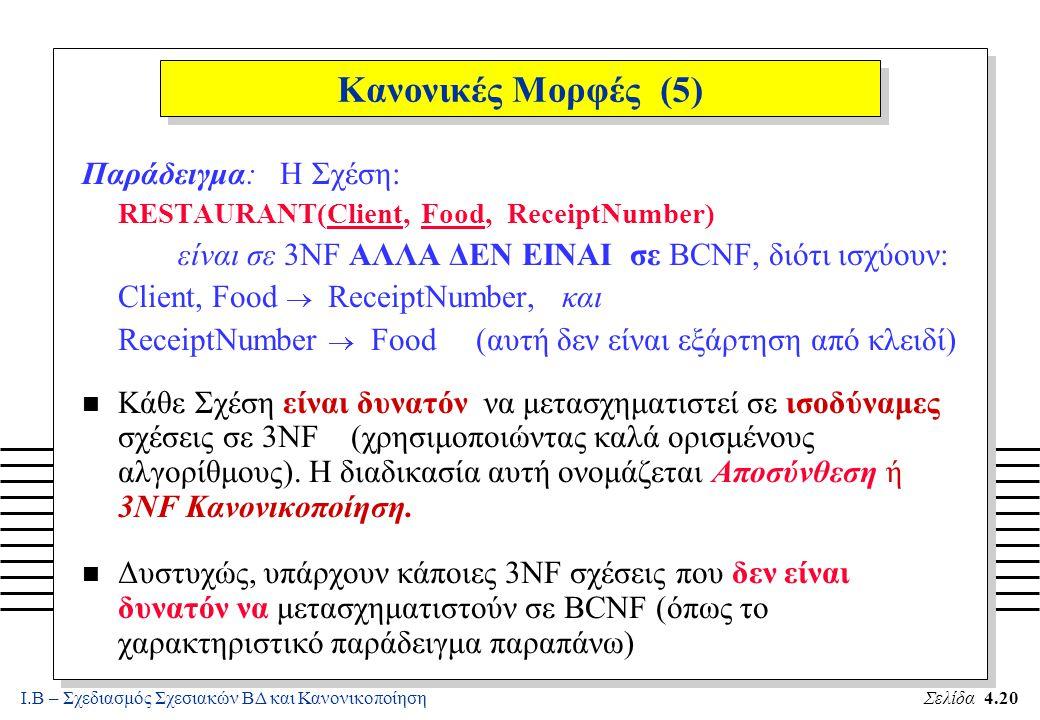 Ι.Β – Σχεδιασμός Σχεσιακών ΒΔ και ΚανονικοποίησηΣελίδα 4.20 Κανονικές Μορφές (5) Παράδειγμα: Η Σχέση: RESTAURANT(Client, Food, ReceiptNumber) είναι σε