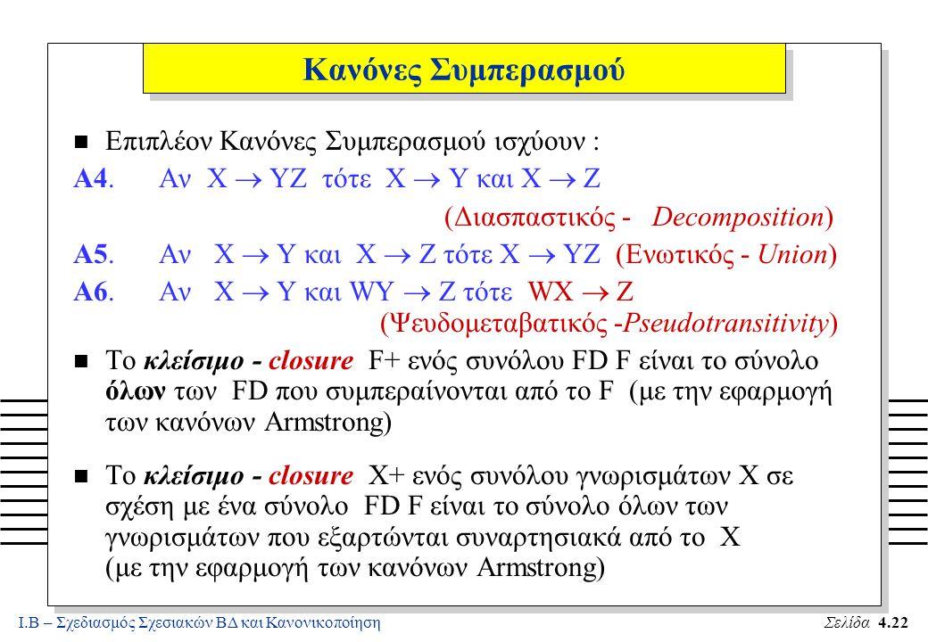 Ι.Β – Σχεδιασμός Σχεσιακών ΒΔ και ΚανονικοποίησηΣελίδα 4.22 Κανόνες Συμπερασμού n Επιπλέον Κανόνες Συμπερασμού ισχύουν : A4.Αν X  YZ τότε X  Y και X