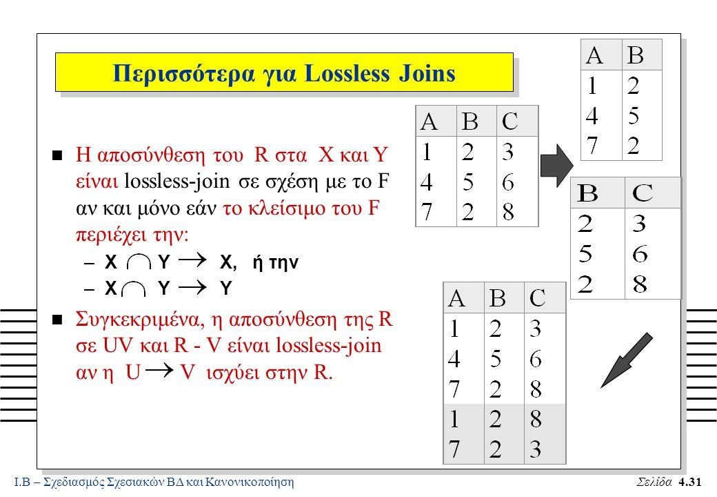 Ι.Β – Σχεδιασμός Σχεσιακών ΒΔ και ΚανονικοποίησηΣελίδα 4.31 n Η αποσύνθεση του R στα X και Y είναι lossless-join σε σχέση με το F αν και μόνο εάν το κ