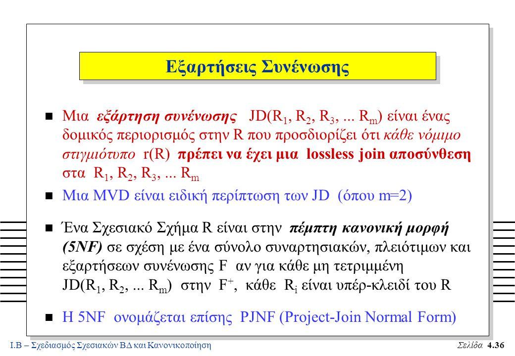 Ι.Β – Σχεδιασμός Σχεσιακών ΒΔ και ΚανονικοποίησηΣελίδα 4.36 Εξαρτήσεις Συνένωσης n Μια εξάρτηση συνένωσης JD(R 1, R 2, R 3,... R m ) είναι ένας δομικό